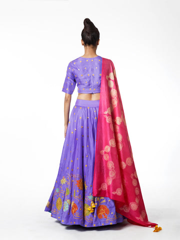 VIOLET EMBROIDERED LEHENGA SET
