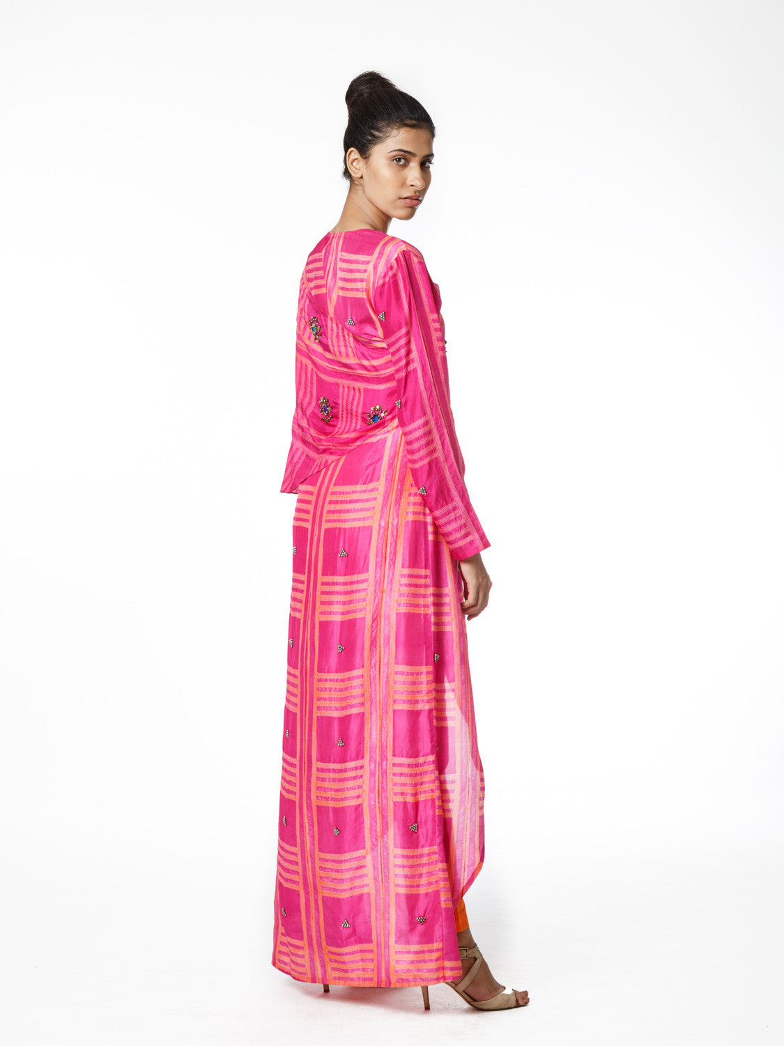 Fuchsia Shibori Wrap Tunic Dress With Pants