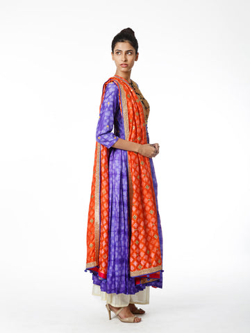 PURPLE SHIBORI RAAS EMBROIDERED KURTA SET
