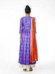 Purple Shibori Embroidered Kurta Set