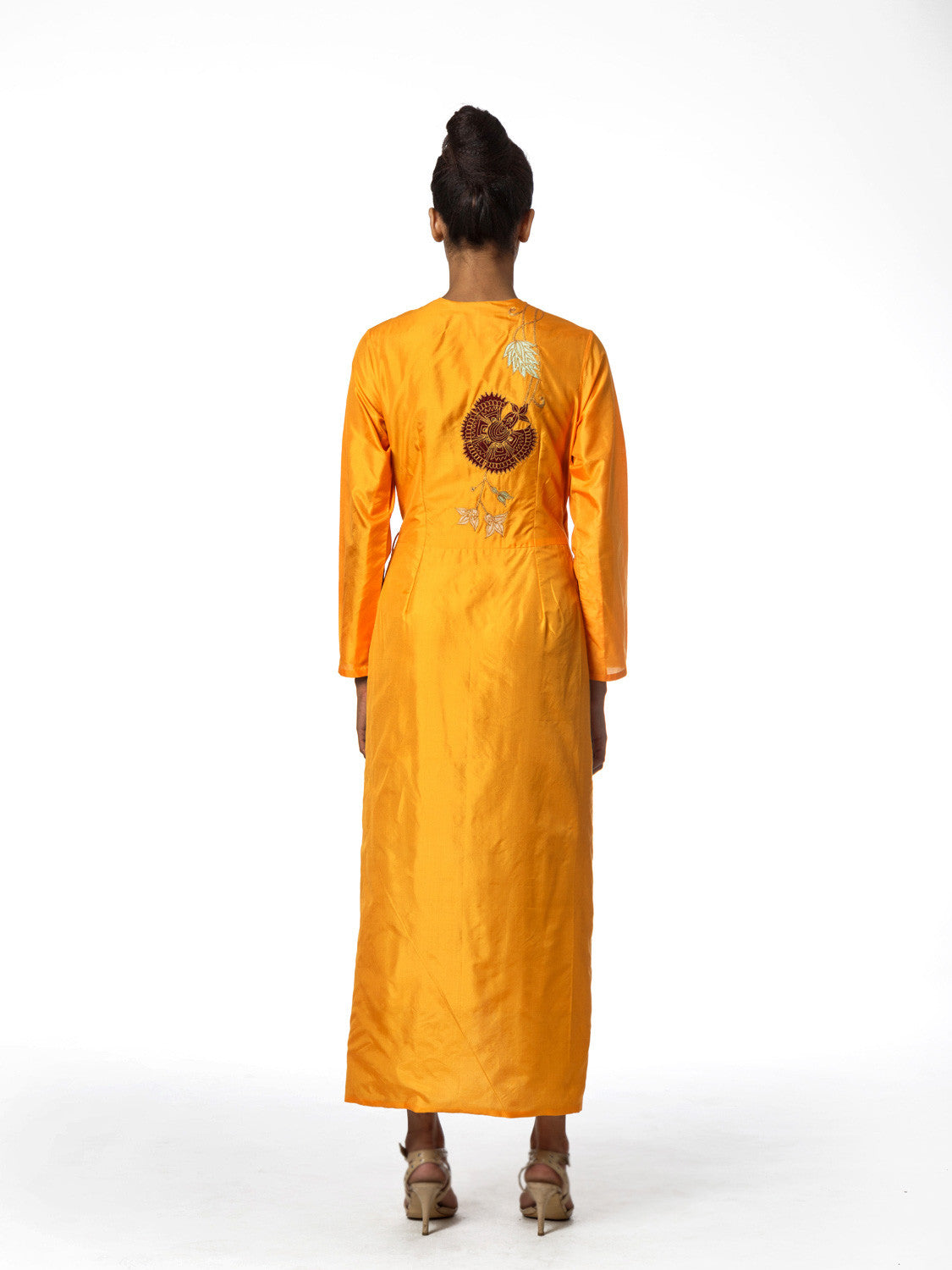 Yellow raas applique Wrap Dress