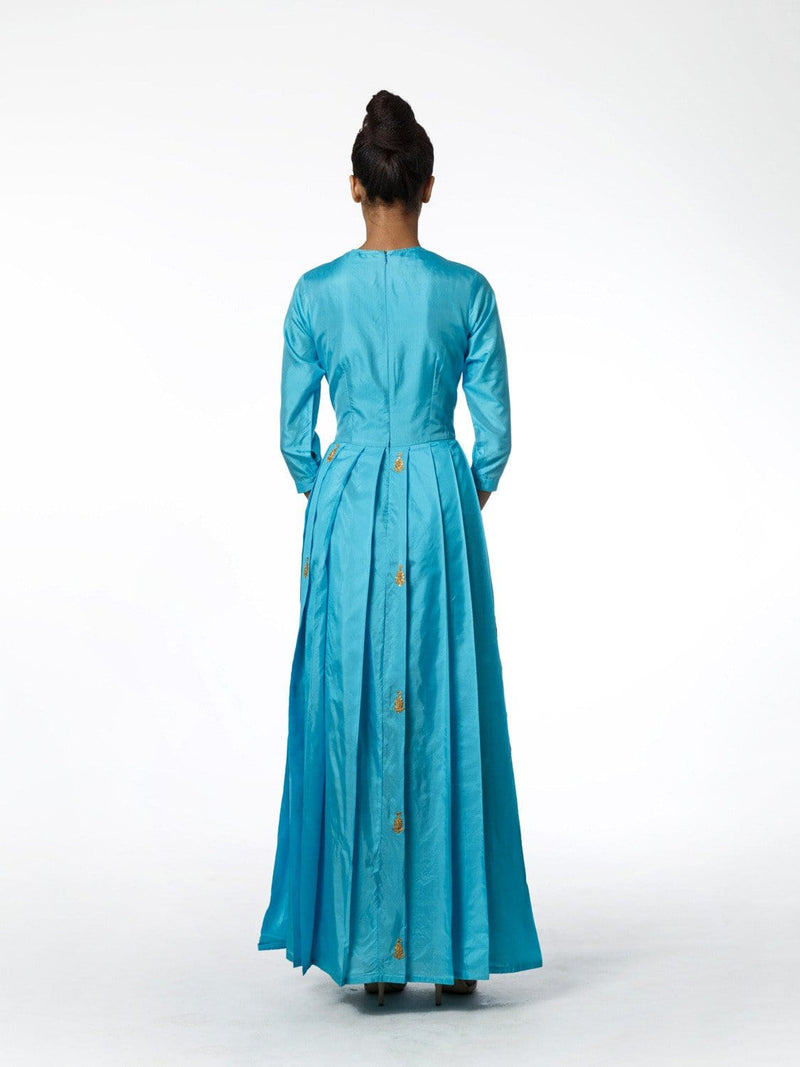 AQUA SILK PLEATED LONG DRESS