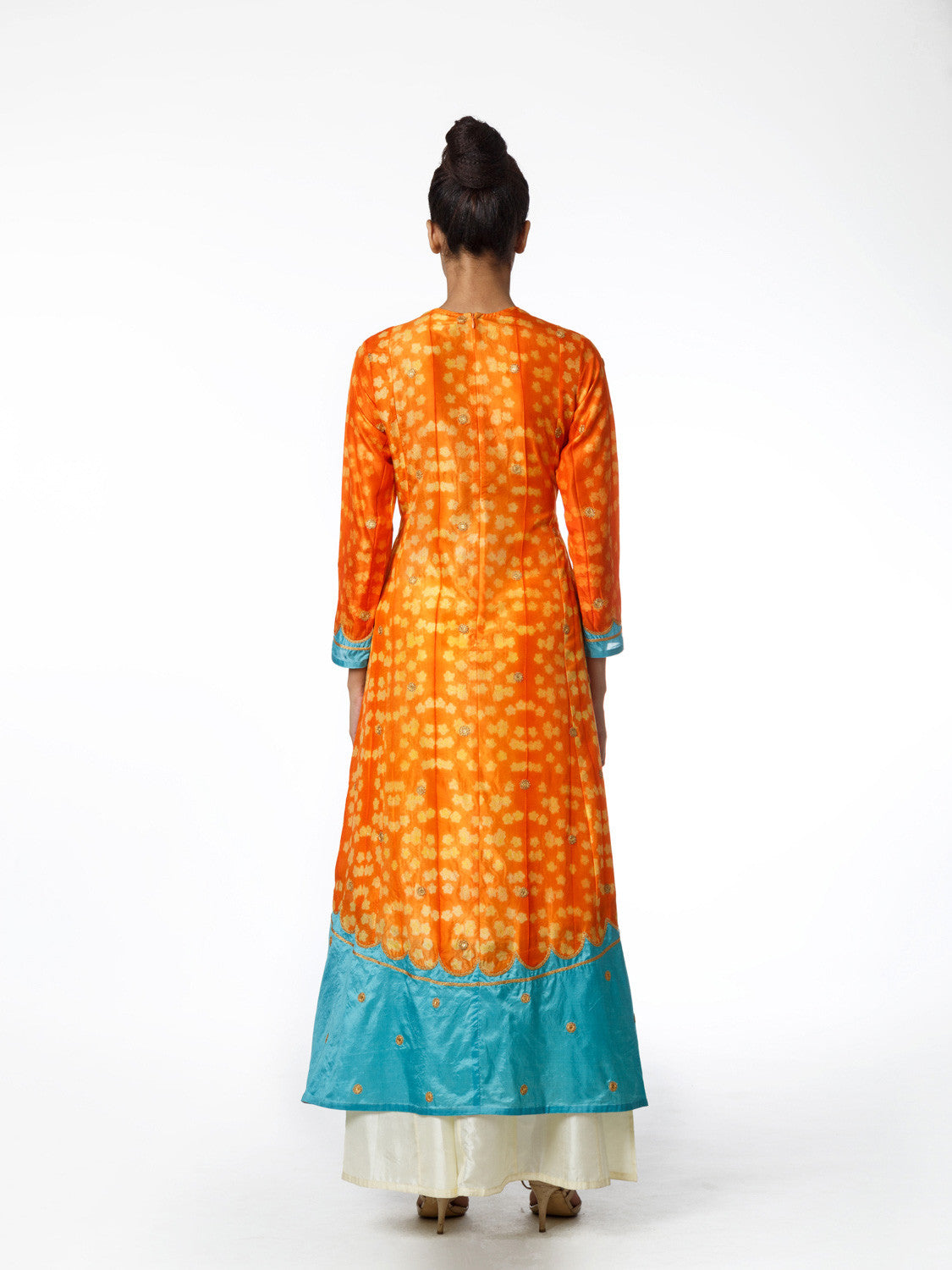 SAFFRON AND AQUA EMBROIDERED KURTA SET