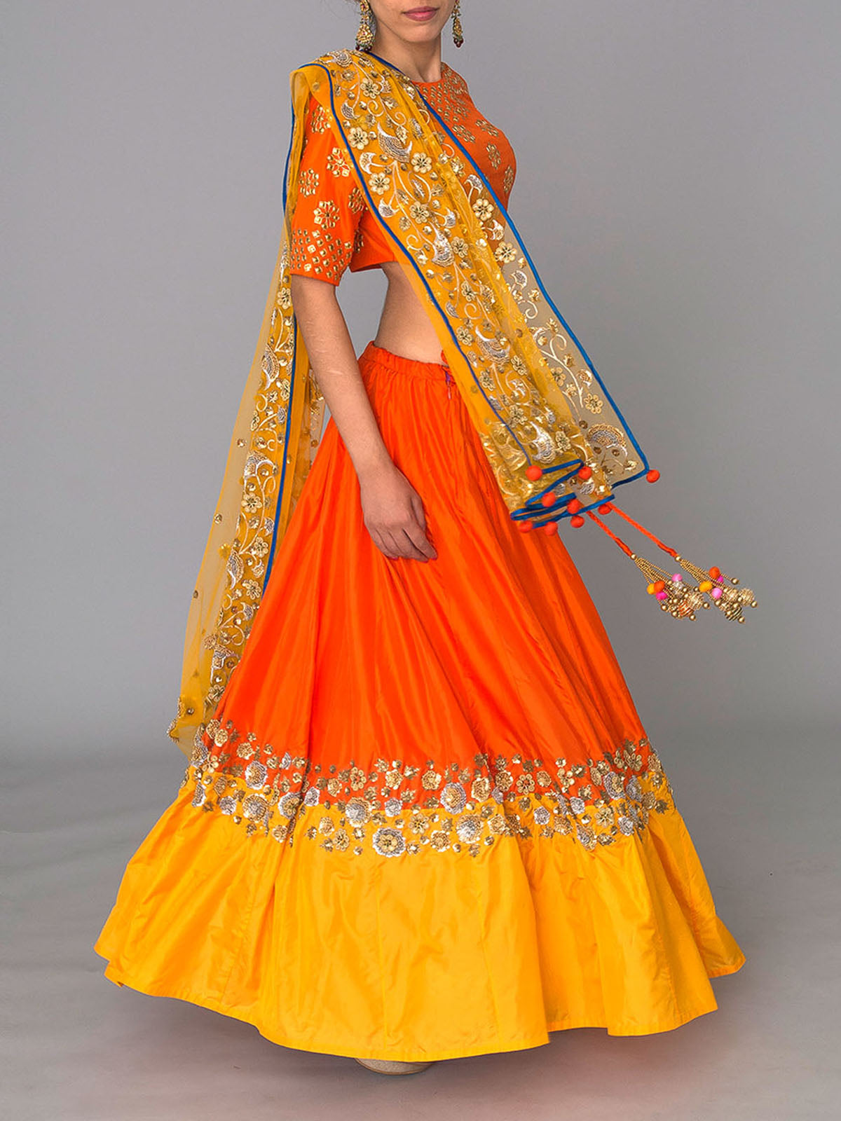TANGERINE EMBROIDERED LEHENGA SET