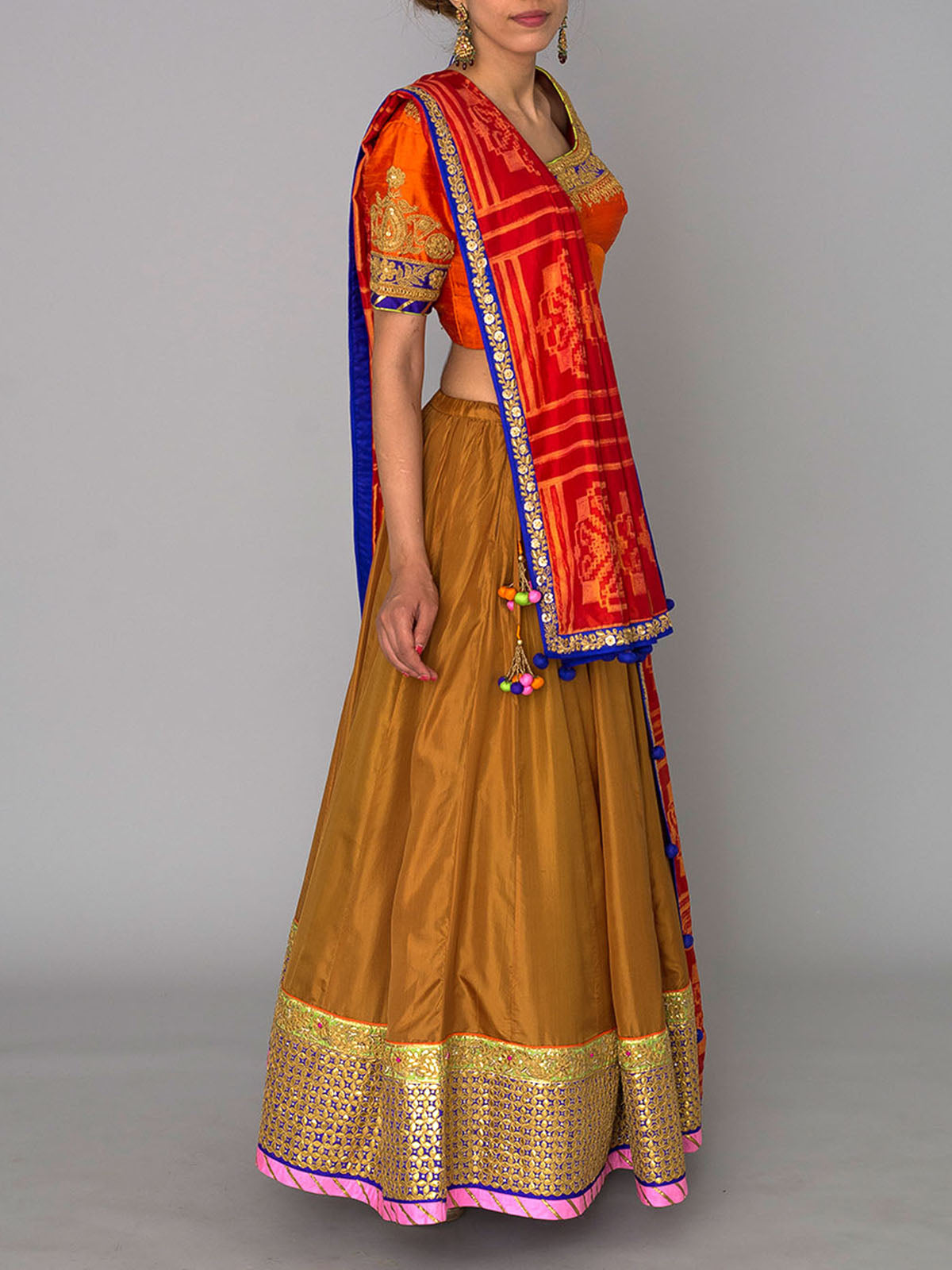 BEIGE EMBROIDED LEHENGA WITH SHIBORI DUPATTA