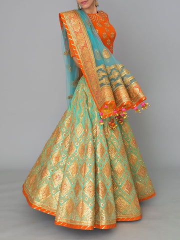 AQUAMARINE GOTA PATTI EMBROIDED LEHENGA SET