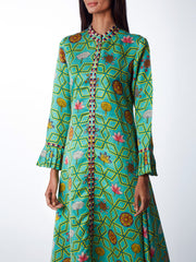 Bundi Mint Jaal Print Flared Kurta