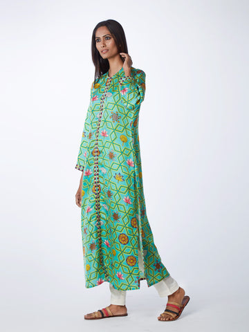 Bundi Scarlet Jaal Print Cape With Linen Palazzo Pants