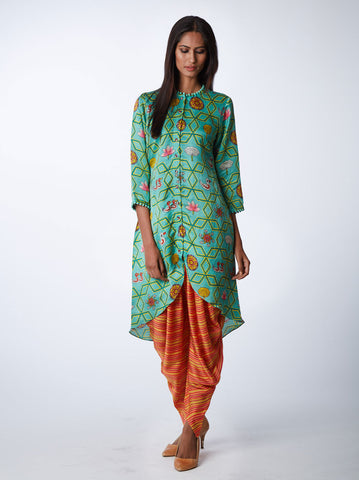 BUNDI MINT JAAL PRINT KURTA WITH DHOTI PANTS