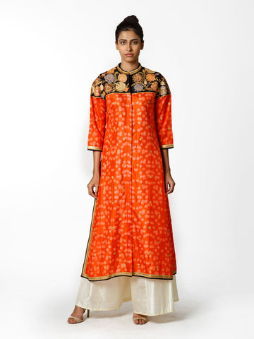 ORANGE SHIBORI EMBROIDERED KURTA WITH PALAZZO PANT