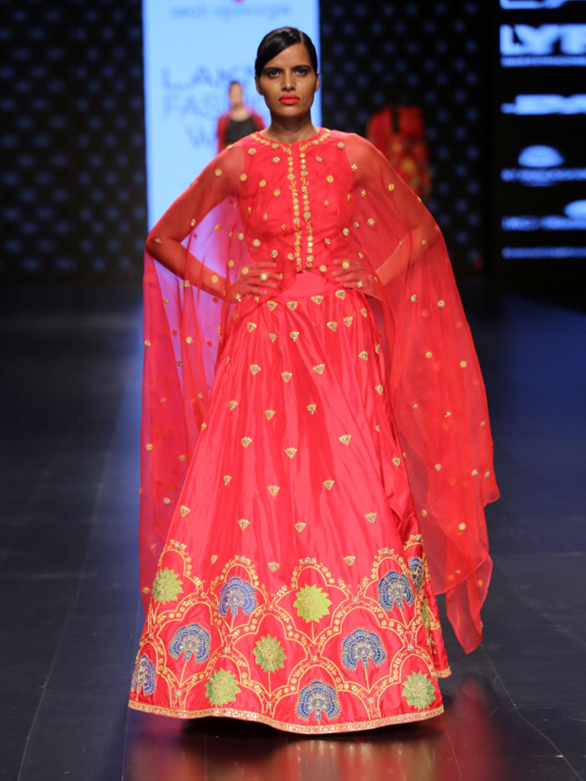 RAAS RED LEHENGA SET WITH CAPE