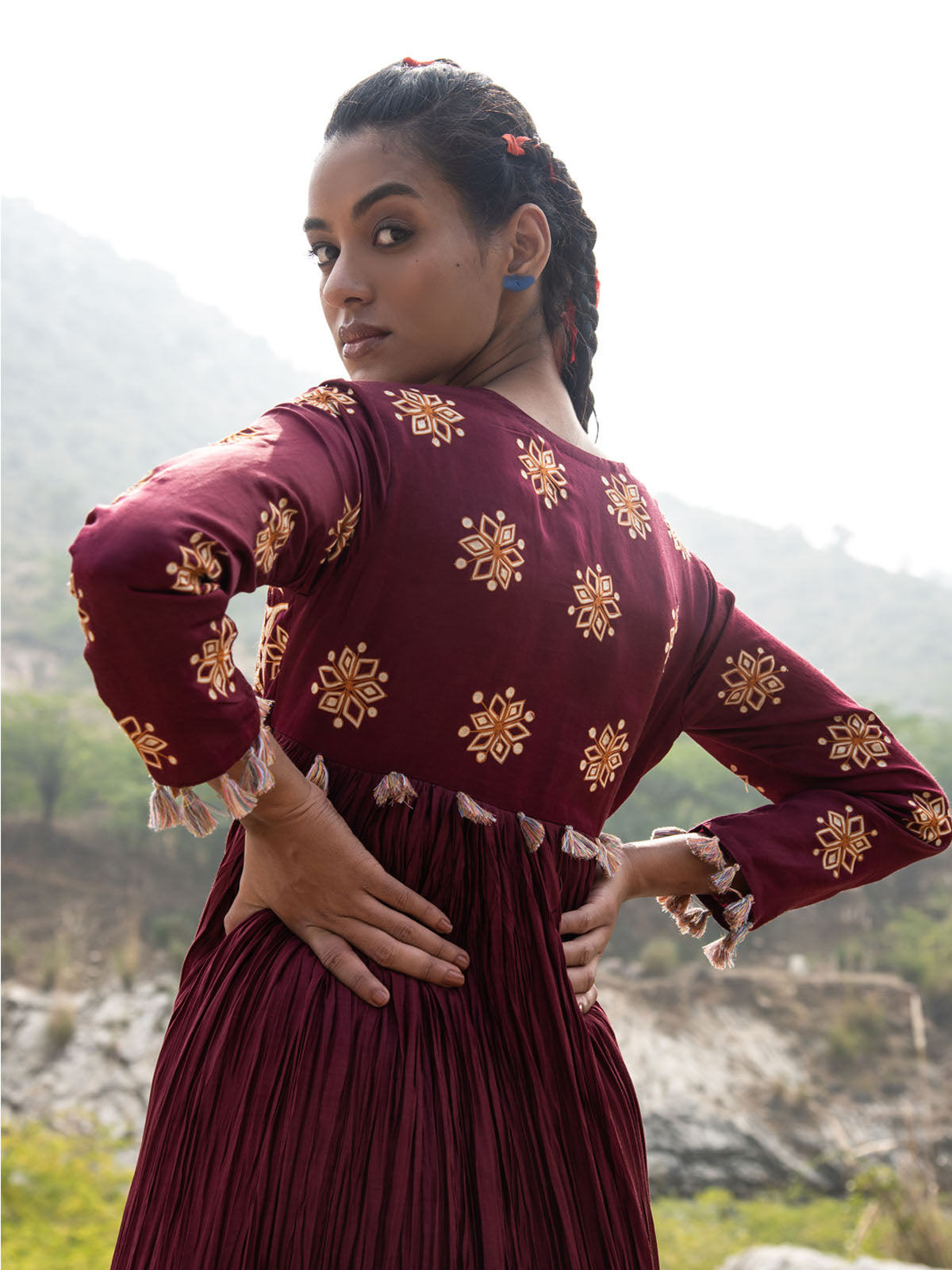 TOTA MAROON CRUSHED EMBROIDERED DRESS