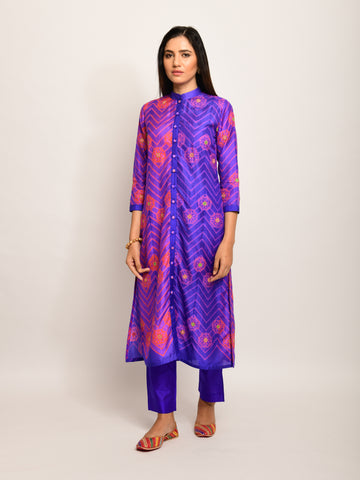 FLORAL CHEVRON EMBROIDED SHIBORI PURPLE KURTA