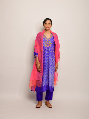 PATANG EMB SHIBORI PURPLE KURTA SET WITH BUTI DUPATTA