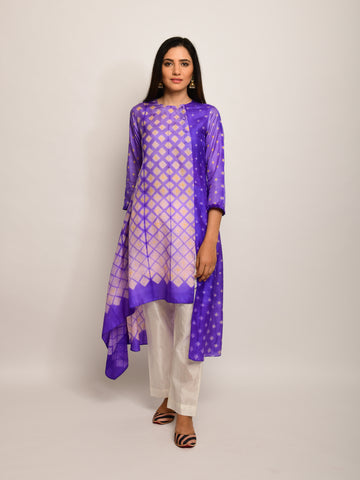 PATANG SHIBORI PURPLE / YELLOW ASYMMETRICAL TUNIC