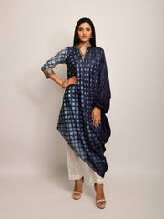 PATANG EMBROIDED SHIBORI CHARCOAL ASYMMETRICAL TUNIC