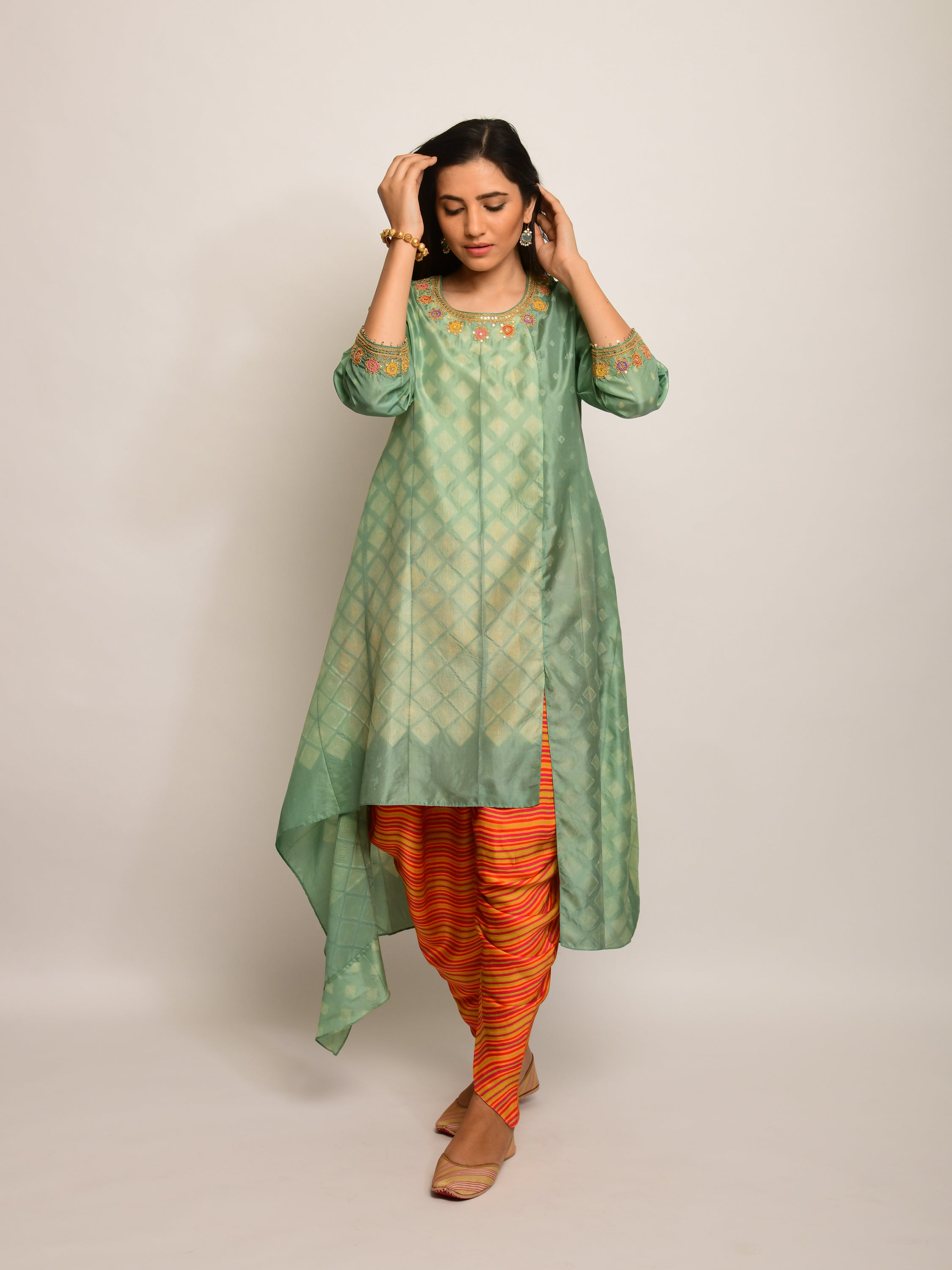 PATANG EMBROIDED SHIBORI OLIVE/BEIGE  ASYMMETRICAL TUNIC