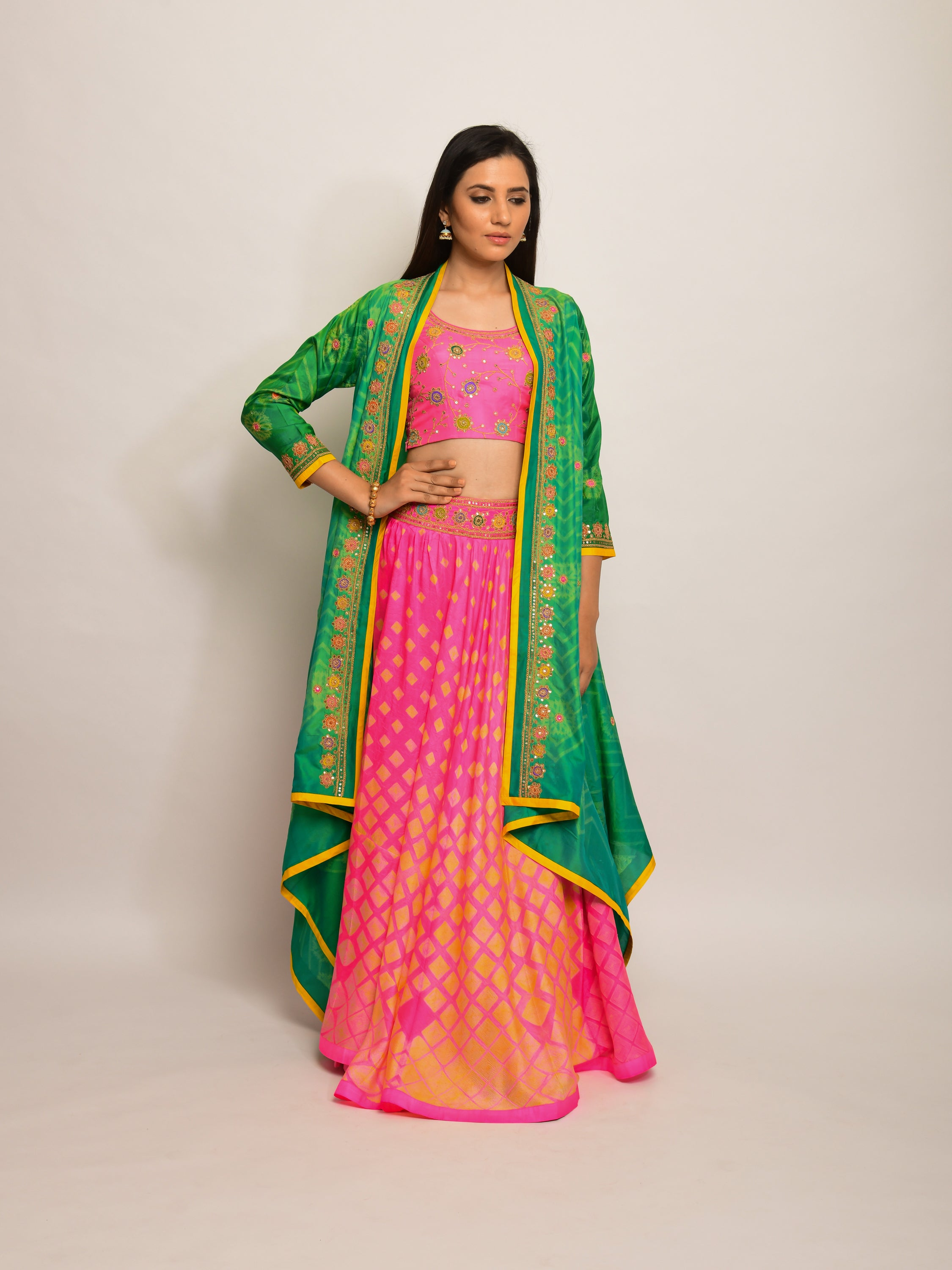 PATANG EMBRODIED SHIBORI PINK LEHENGA CAPE SET