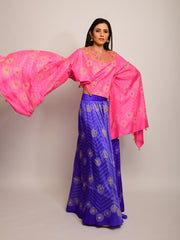 FLORAL CHEVRON EMBRODIED SHIBORI PURPLE LEHENGA SKIRT