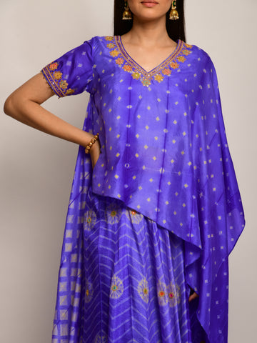 PATANG EMBROIDED SHIBORI PURPLE CAPE