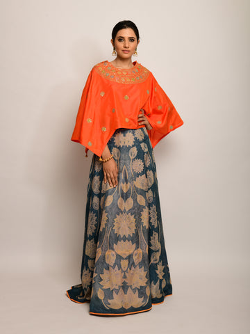 PATANG ORANGE EMBROIDED  CAPE