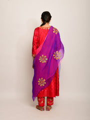 PATANG SHIBORI RED KURTA SET WITH BUTA DUPATTA