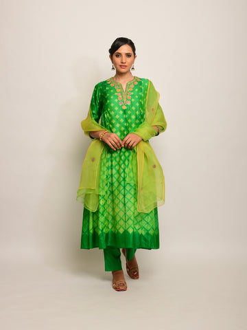 PATANG SHIBORI GREEN KURTA SET WITH BUTI DUPATTA