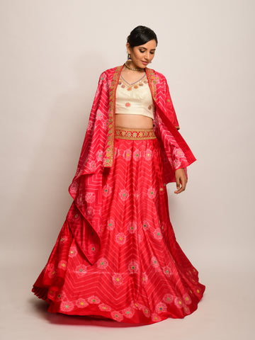 FLORAL CHEVRON  SHIBORI RED LEHENGA CAPE SET WITH BLOUSE