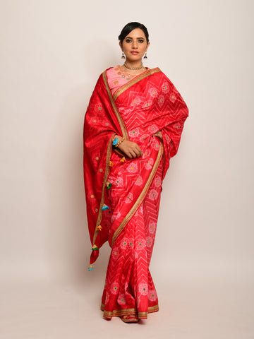 FLORAL CHEVRON EMB SHIBORI RED SAREE WITH PEACH BLOUSE