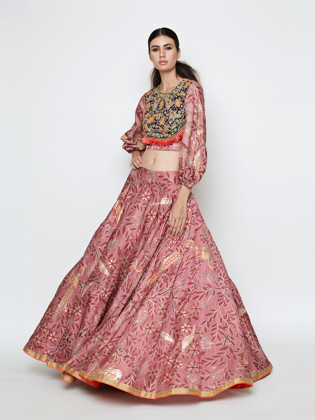 MORBAGH ROSE PINK EMBROIDERED LEHENGA WITH CROP TOP