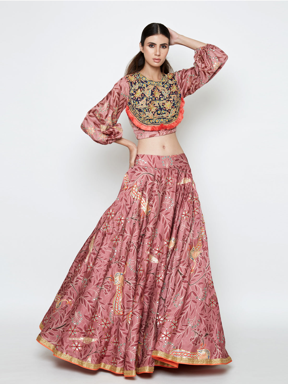 MORBAGH ROSE PINK EMBROIDED LEHENGA WITH CROP TOP