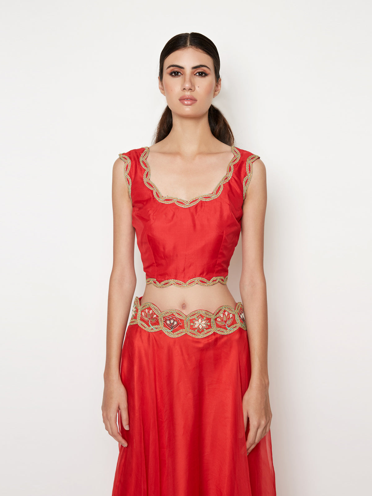RED LEHENGA WITH TOP AND  EMBROIDED CAPE