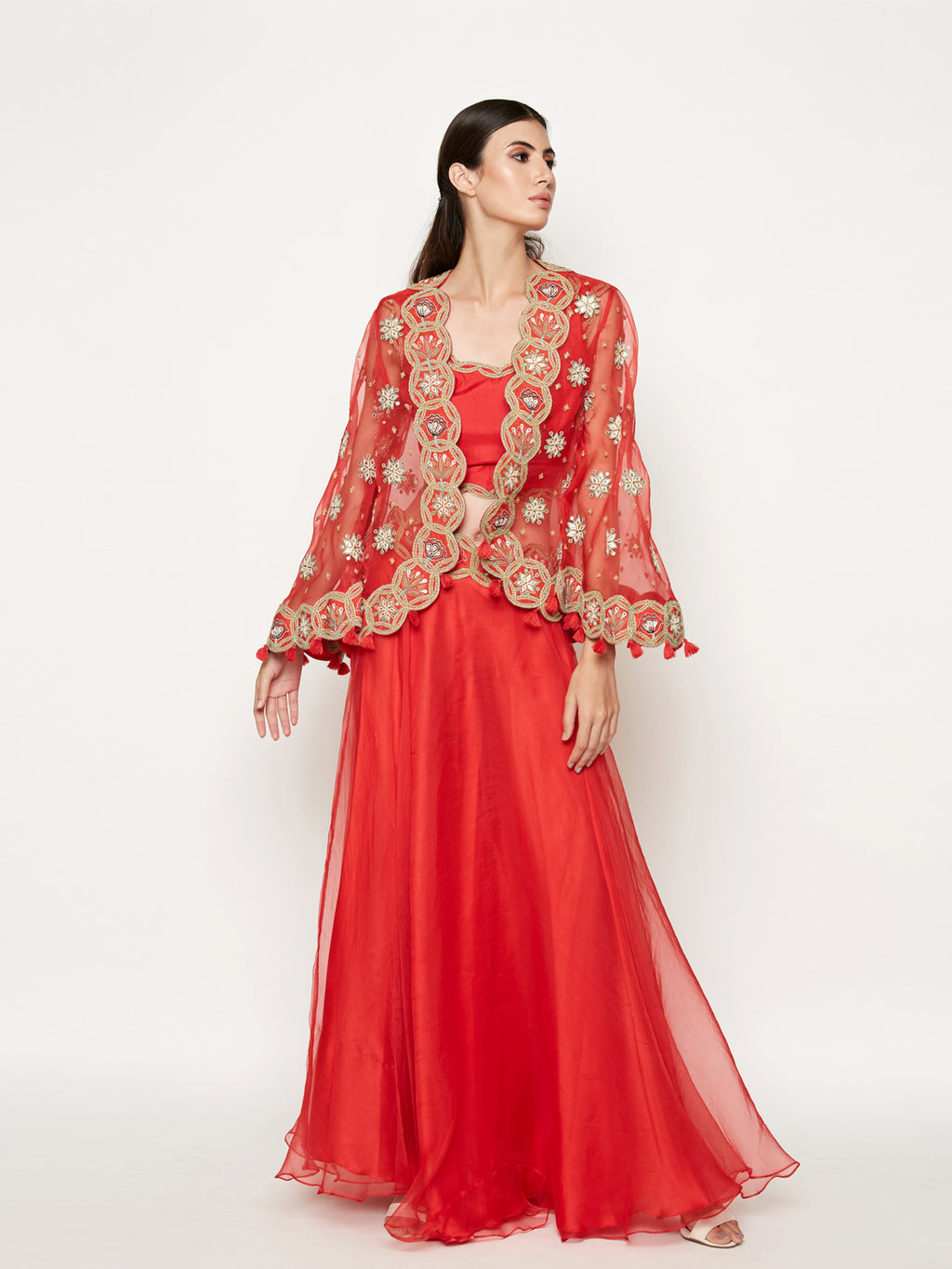 RED LEHENGA WITH TOP AND  EMBROIDERED CAPE