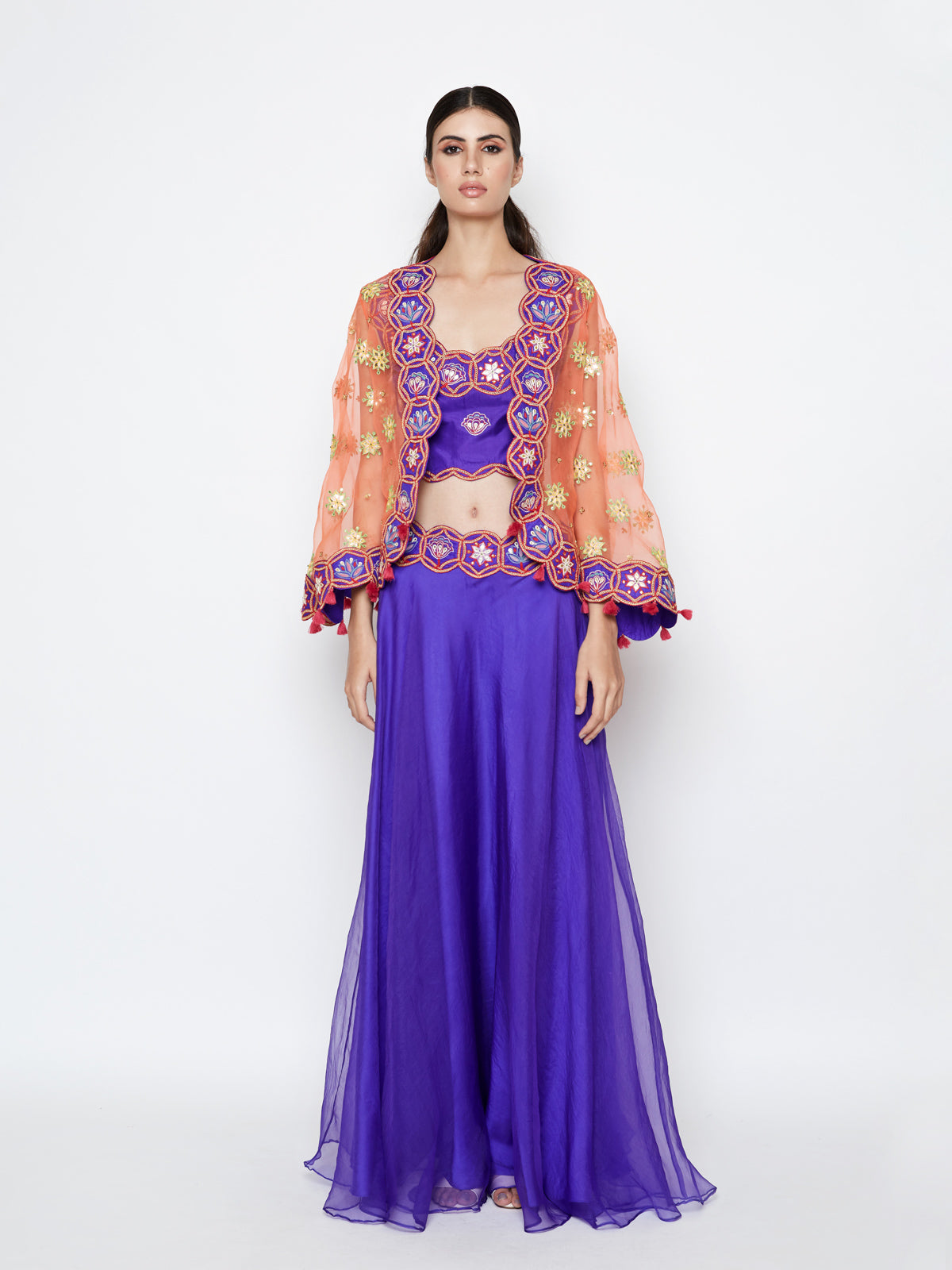 PURPLE LEHENGA WITH TOP AND EMBROIDERED CAPE