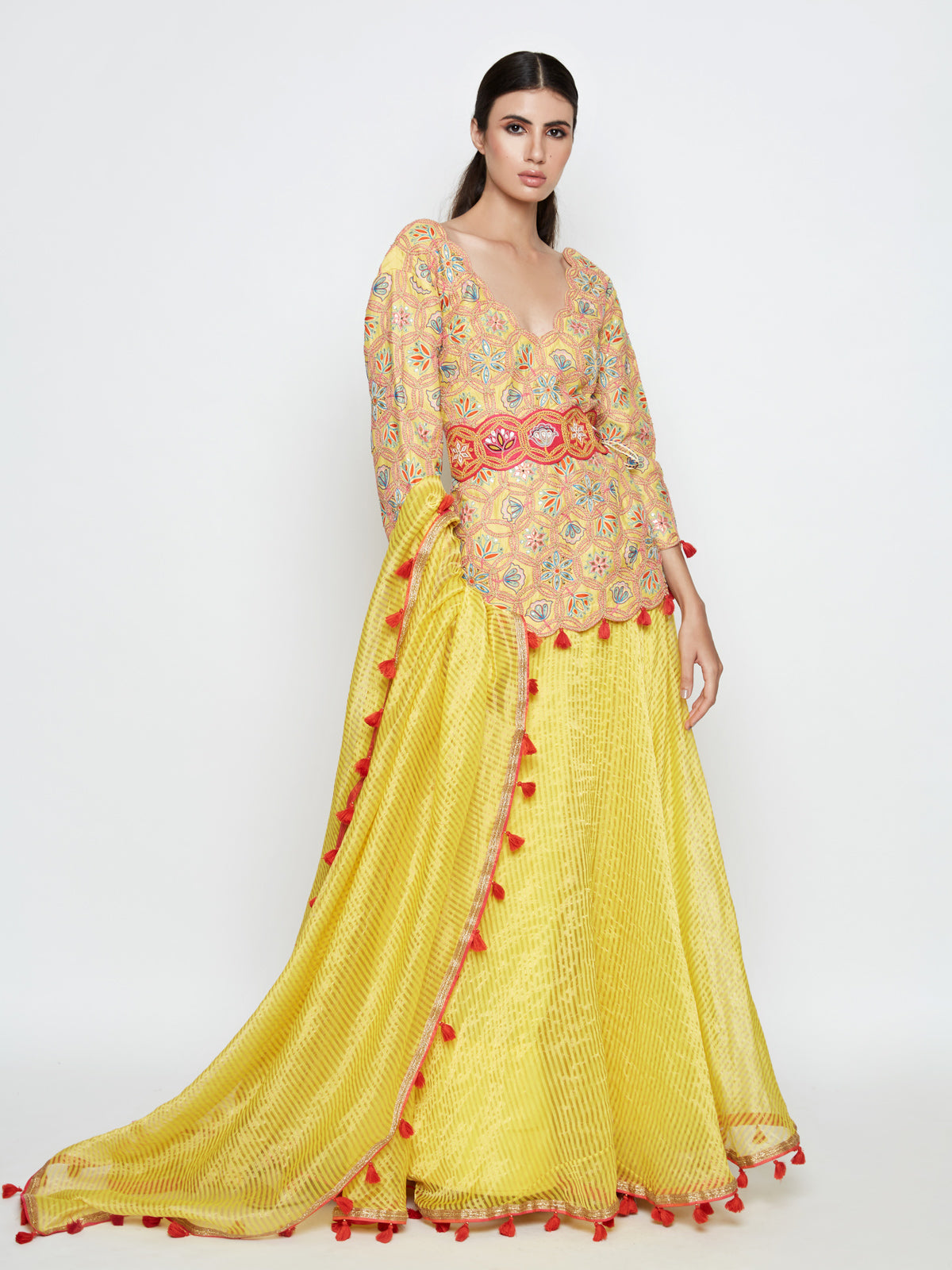 KAMAL SHORT EMBROIDERED KURTA WITH SKIRT AND DUPATTA