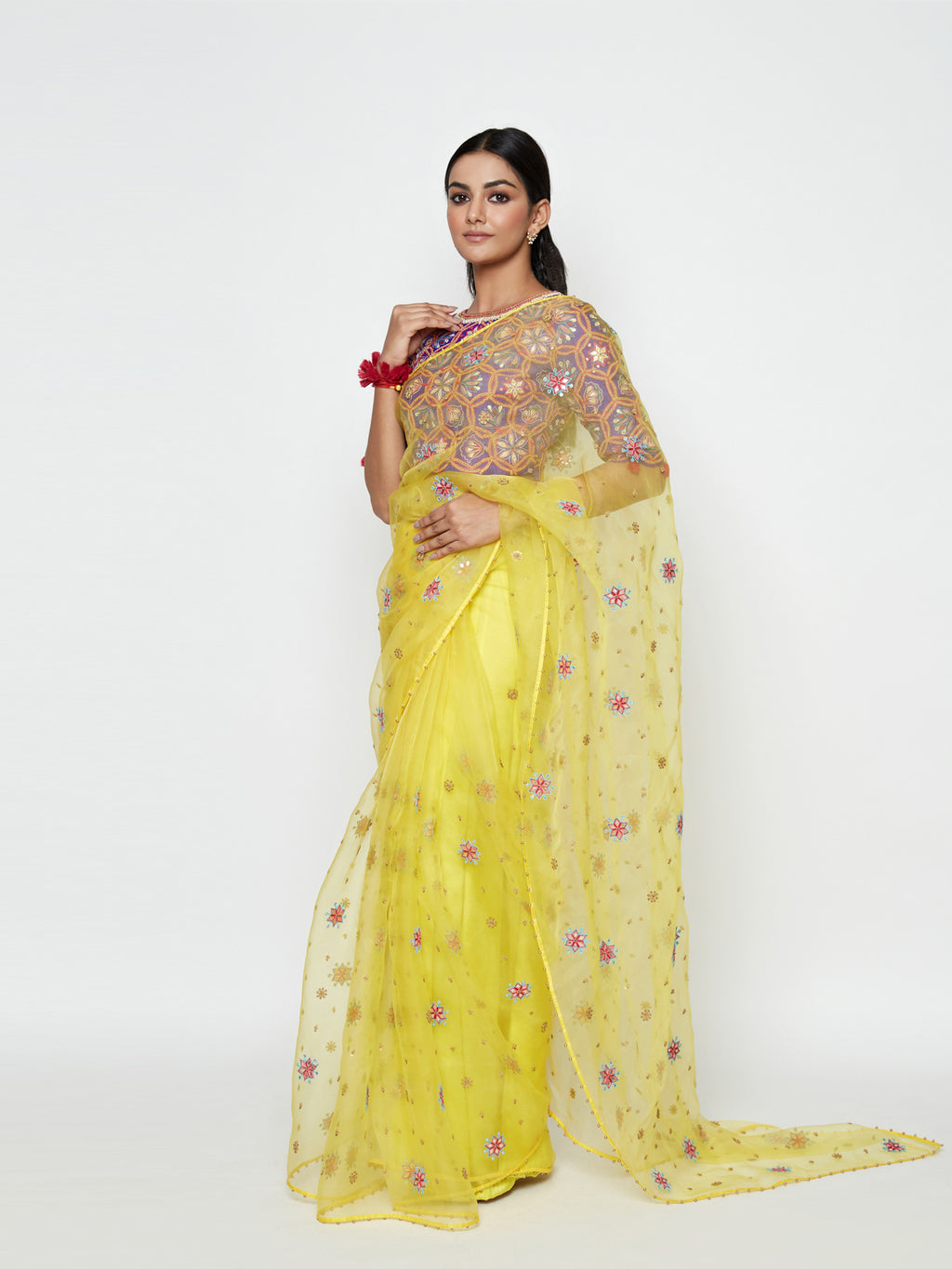 YELLOW ORGANZA EMBROIDERED SAREE WITH BLOUSE