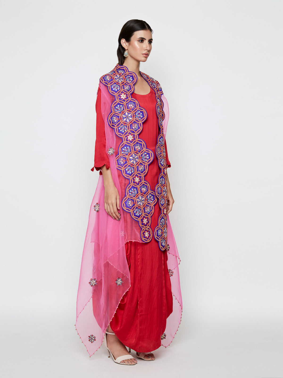 RED MODAL SATIN DHOTI DRESS WITH PINK EMBROIDED CAPE