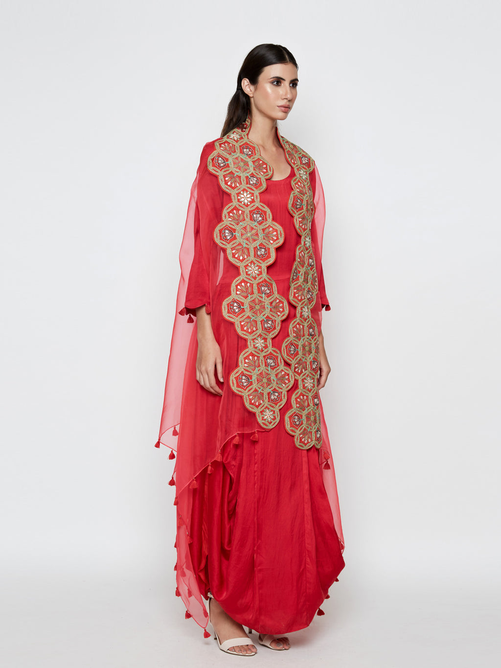 RED DHOTI DRESS WITH RED EMBROIDERED CAPE