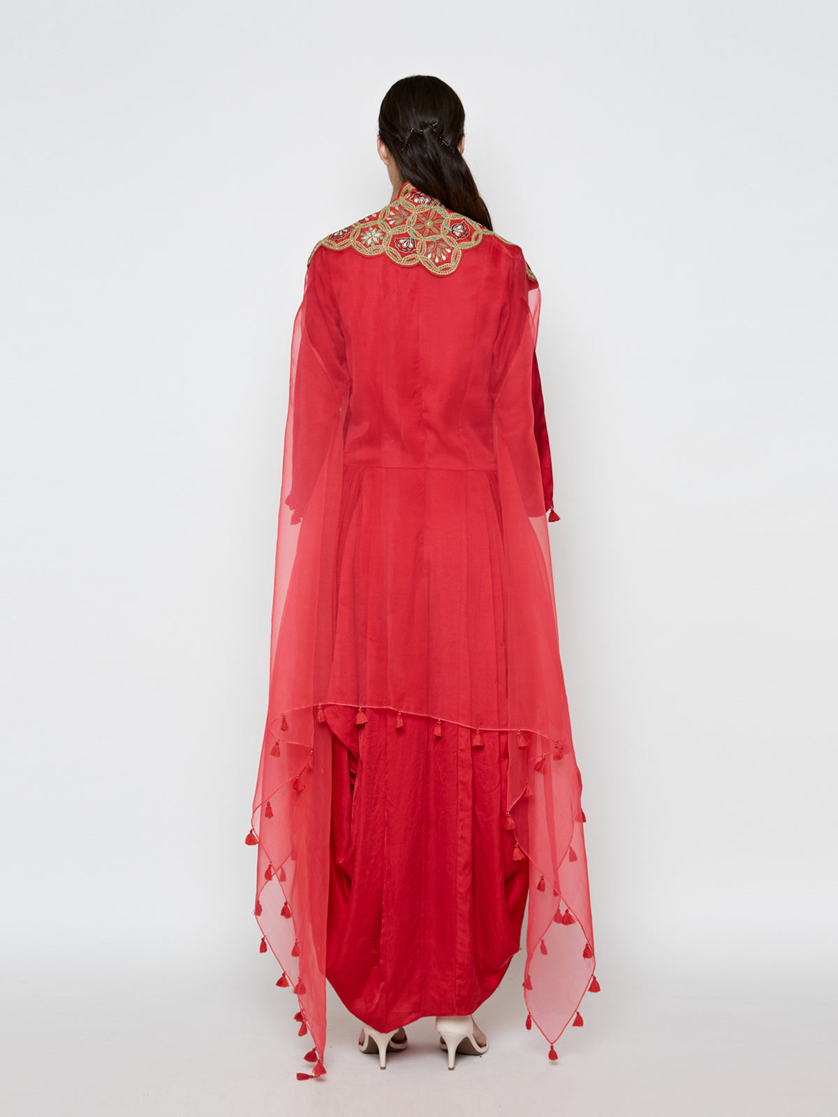 RED DHOTI DRESS WITH RED EMBROIDED CAPE