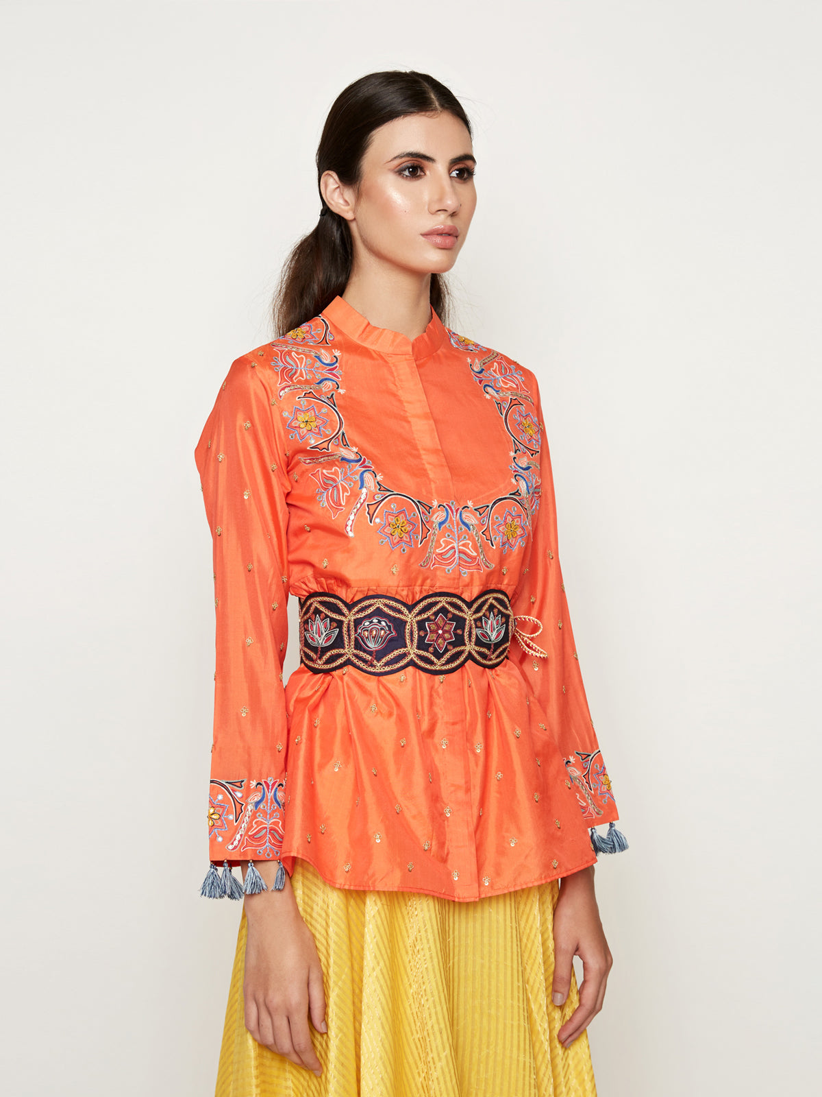MORBAGH EMBROIDERED JACKET WITH ASYMMETRICAL SUNHERI CHANDERI DRESS