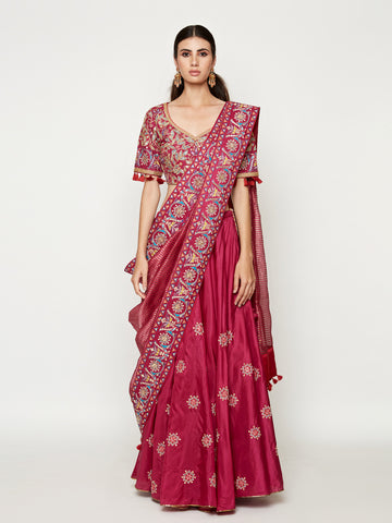 MORBAGH ROSE PINK saree with organza embroidered shirt
