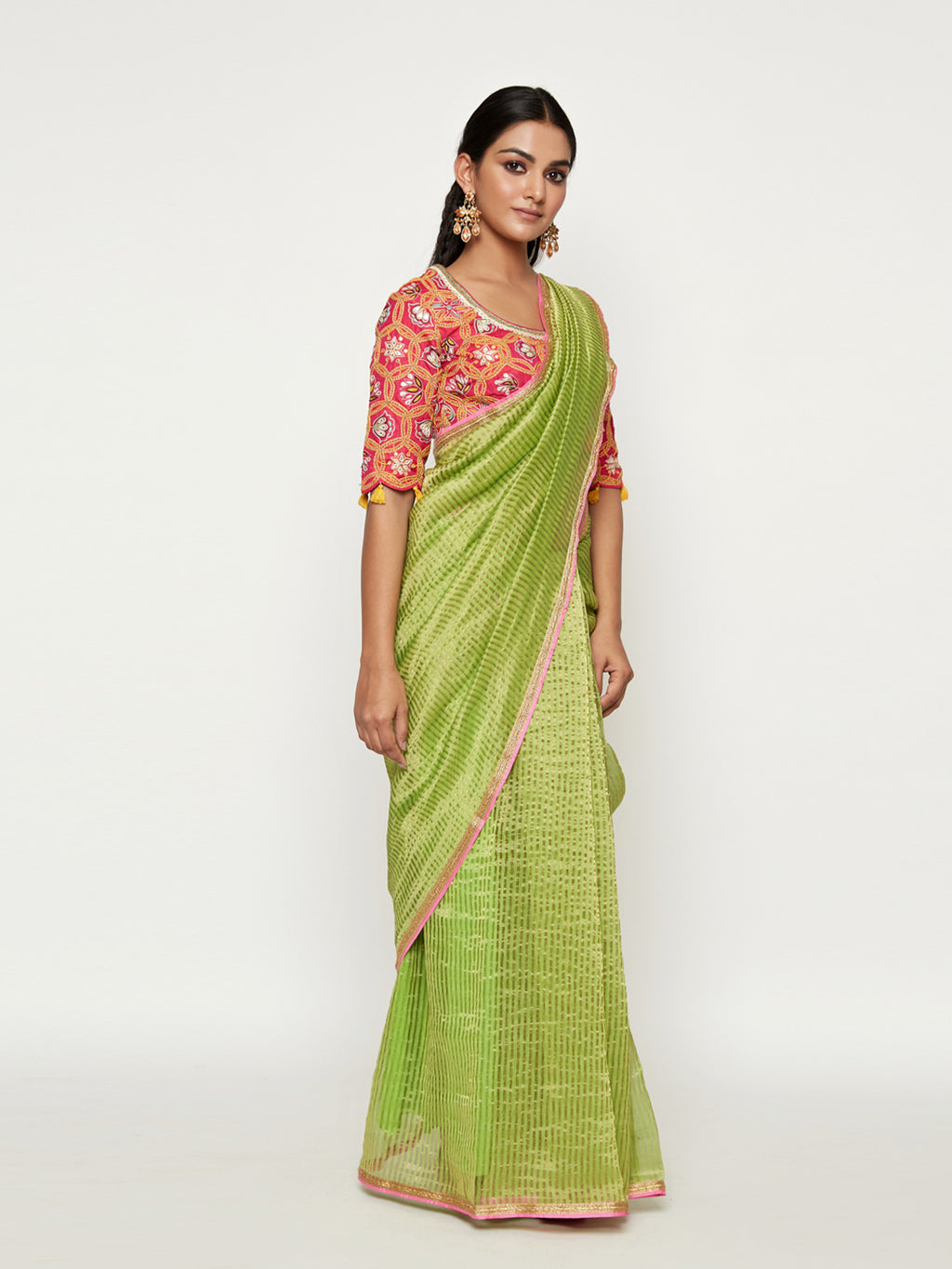 MORBAGH SUNHERI GREEN  SAREE WITH EMBROIDERED BLOUSE