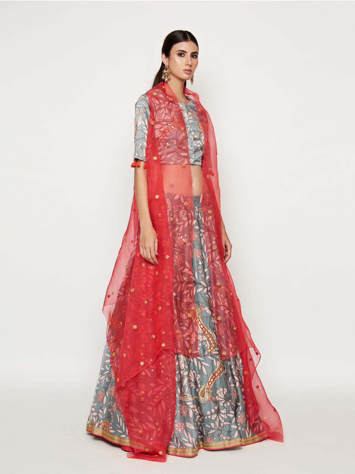 GREY EMBROIDERED LEHENGA CROP TOP WITH PINK CAPE