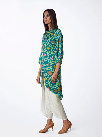 Bundi Teal Jaal Print Kurta With Dhoti Pants