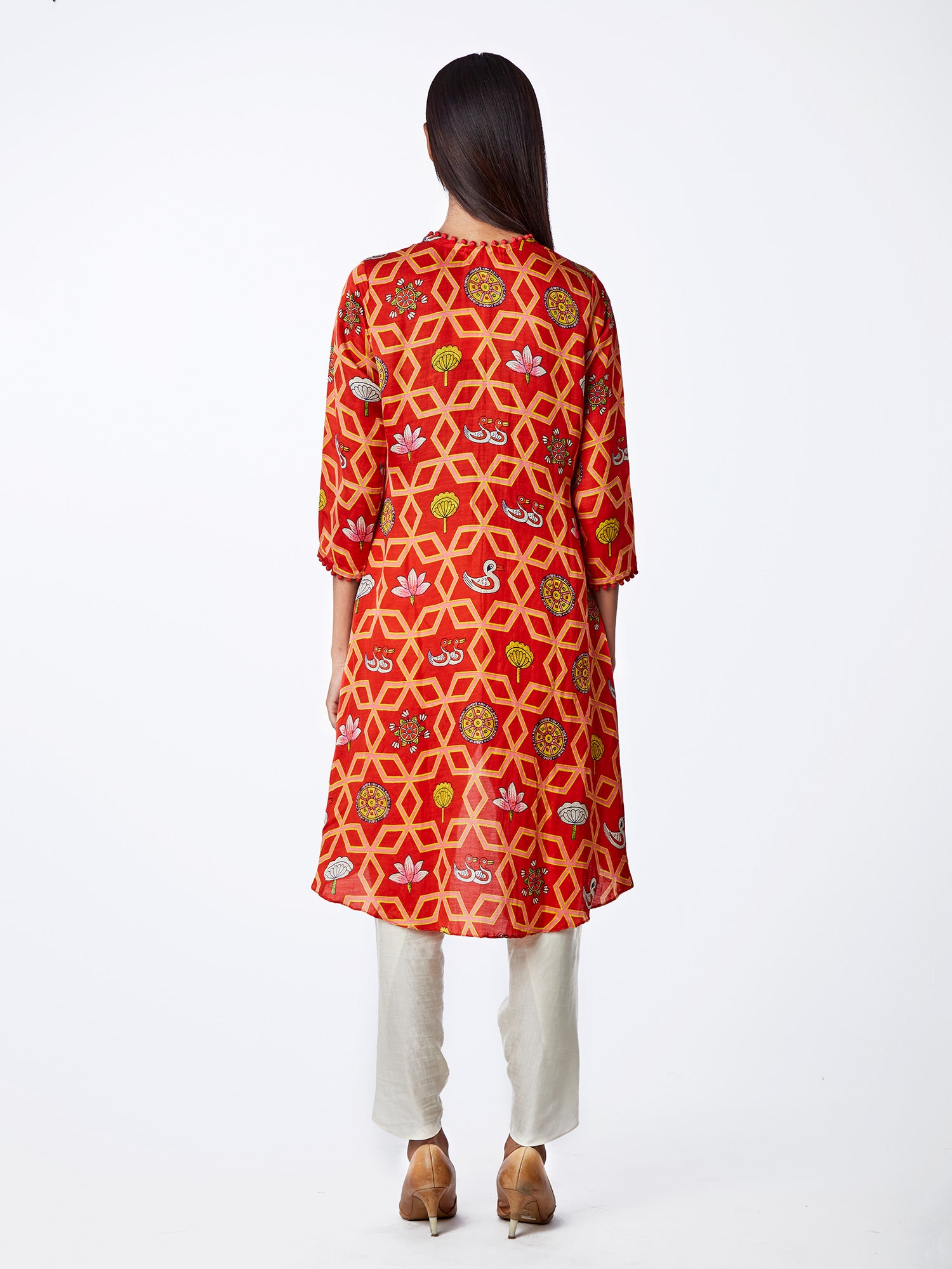 Bundi Scarlet Jaal Print Kurta With Dhoti Pants