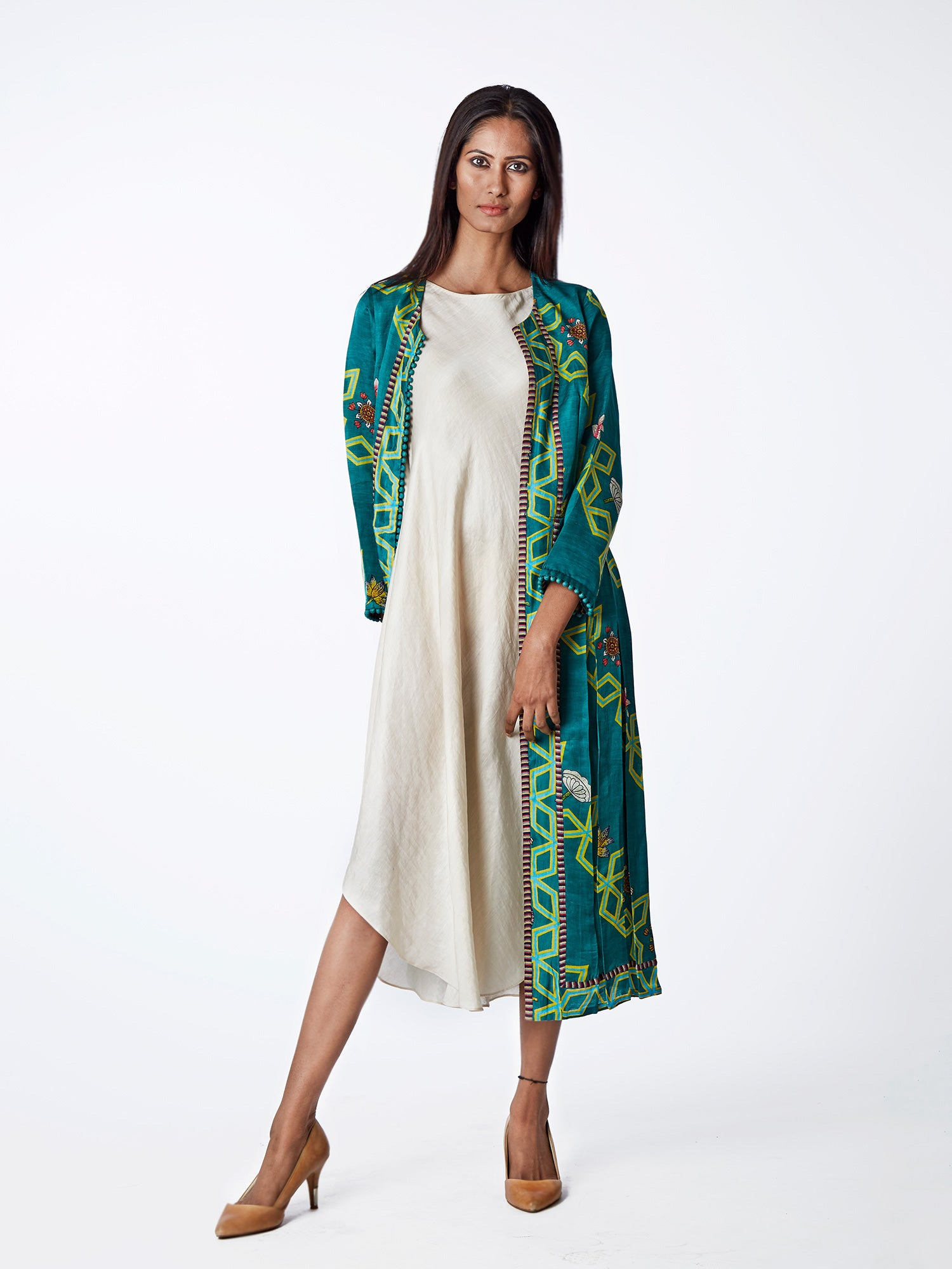 JACKET DRESS, LONG DRESS, SHIFT DRESS, PRINTED, EMBROIDERED, INDIAN APPAREL, SWATI VIJAIVARGIE