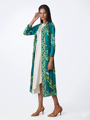 Bundi Teal Diagonal Print Jacket With Dress