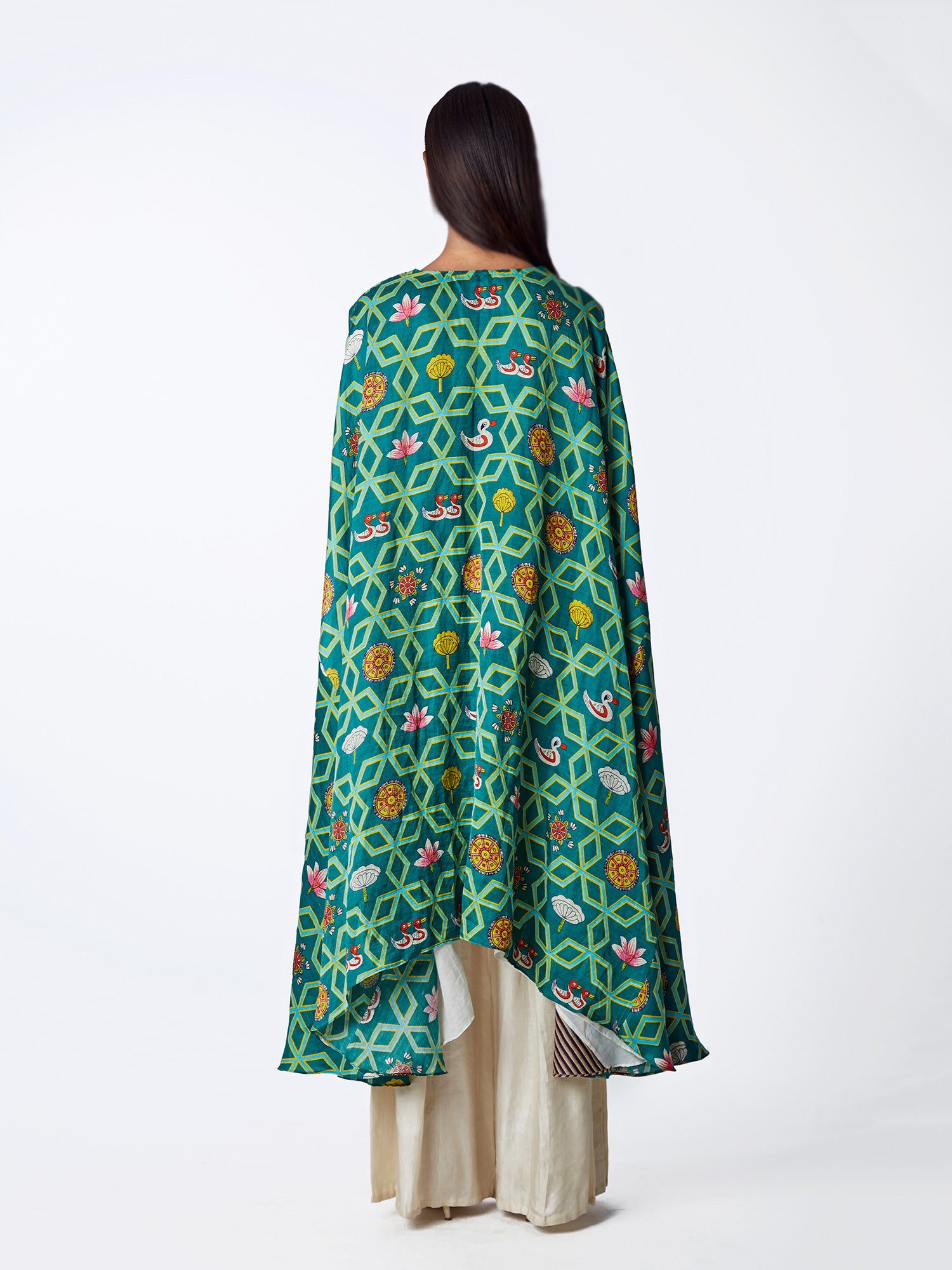 Bundi Teal Jaal Print Cape With Linen Palazzo Pants