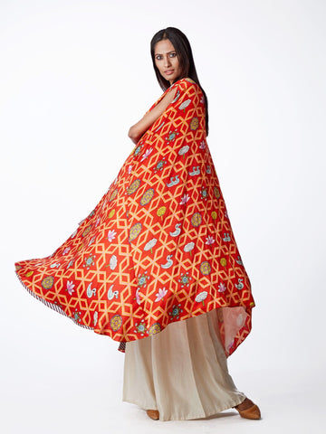 CAPE, TOP EMBROIDERED, PRINTS, PRINTED, RED, PRINTED, PALAZZO, SWATI VIJAIVARGIE