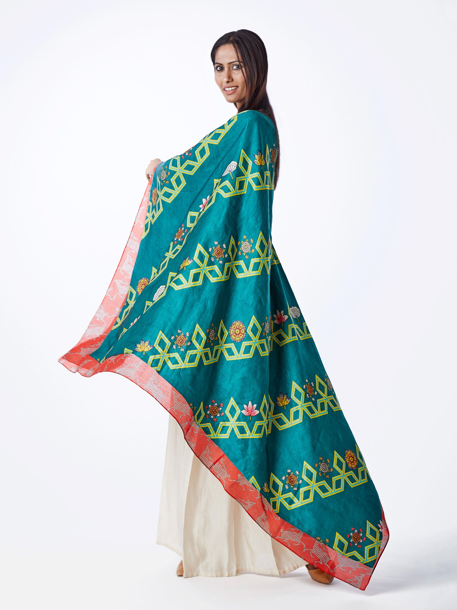 CAPE, TOP EMBROIDERED, PRINTS, PRINTED, TEAL, PRINTED, PALAZZO, SWATI VIJAIVARGIE